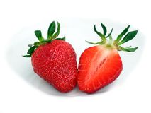 Två jordgubbar Arkivfoton