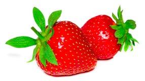 Två jordgubbar stänger sig upp på vit bakgrund fotografering för bildbyråer