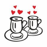 Två kaffekoppar med hjärtor Royaltyfria Foton