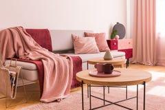 Två kaffekoppar på träkaffetabellen bredvid flott grå soffa med pastellfärgade rosa kuddar och burgundy och pastellfärgade rosa f arkivfoton