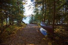 Två kanoter som staplas i skogen av sjön fotografering för bildbyråer