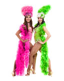 Två karnevaldansarekvinnor som dansar mot isolerad vit bakgrund Royaltyfri Fotografi