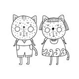 Två katter pojke och flicka Royaltyfri Foto