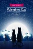 Två katter som sitter på ett staket som ser den dumma månen Arkivfoto