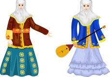 Två kazakhkvinnor i den traditionella nationella klänningen, vektorillustration Arkivfoton