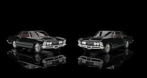 Två klassiska bilar på svart bakgrund Arkivfoto