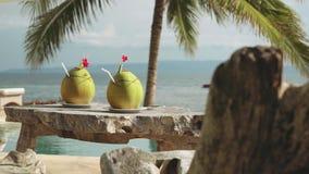 Två kokosnötdrinkar på trätabellen framme av det oändlighetssimbassängen och havet arkivfilmer