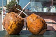 Två kokosnötter med sugrör som ska drickas på tabellen refreshment royaltyfria foton