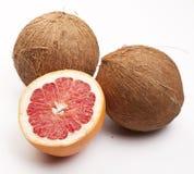Två kokosnötter och en grapefrukt Royaltyfria Foton