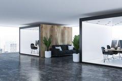 Två kontor och soffa stock illustrationer