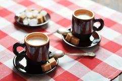 Två koppar av espresso Royaltyfri Foto