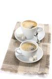 Två koppar av kaffe Royaltyfria Foton