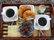 Två koppar kaffe bästa sikt för giffeldata Royaltyfria Foton