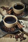 Två koppar kaffe med kryddor Royaltyfri Bild