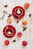 Två koppar med den varma julfruktdrinken med kryddor och bär arkivfoto