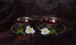 Två koppar med te - symmetri Arkivfoto