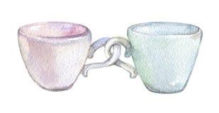 Två koppar som isoleras på den vita bakgrundsvattenfärgen Arkivbild