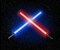 Två korsade blåa ljusa svärd - och röd korsa laser-lightsabe stock illustrationer