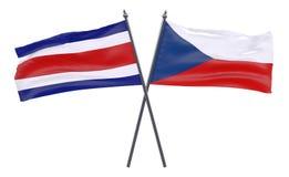 Två korsade flaggor arkivfoto