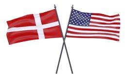 Två korsade flaggor arkivfoton