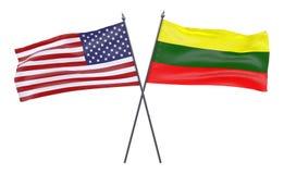 Två korsade flaggor royaltyfri illustrationer