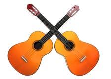 Två korsade gitarrer Fotografering för Bildbyråer