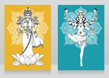 Två kort med den indiska gudinnan Lakshmi och Kali och mandalarundaprydnaden stock illustrationer