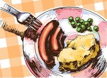 Två korvar för en lunch vektor illustrationer