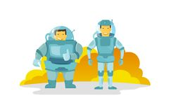 Två kosmonaut i spacesuiten , fett och tunt Visar upp fingret lyckligt le Nytt planet Royaltyfria Foton