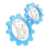 Två kugghjul med ett bitcointecken inom Fotografering för Bildbyråer