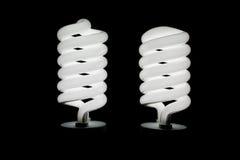Två kulor för spiral för låg energi ljusa Royaltyfri Fotografi