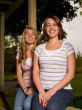 två kvinnabarn royaltyfria bilder