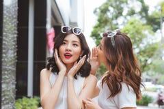 Två kvinnavänner som tillsammans shoppar och talar royaltyfri foto