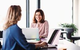 Två kvinnliga affärspersoner med bärbara datorn som sitter i ett kontor som talar royaltyfria bilder