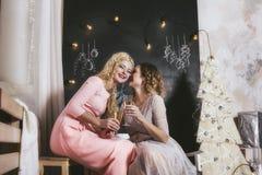 Två kvinnor med härliga lyckliga leenden som tillsammans firar jul Arkivbilder