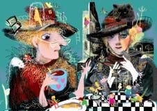 Två kvinnor som dricker kaffe, Royaltyfria Foton