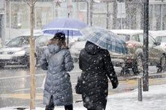 Två kvinnor som går under paraplyer i stadshäftig snöstorm och trafik bak dem royaltyfri fotografi