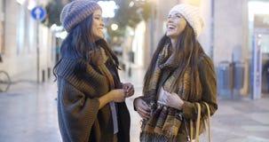 Två kvinnor som pratar i en gatavinter Fotografering för Bildbyråer