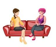Två kvinnor som sitter på en soffa vektor illustrationer