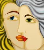 Två kvinnors framsidor royaltyfri illustrationer