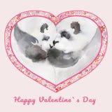 Två kyssande pandor i hjärta formade ramen med små blommor För valentin` s för tecken lycklig dag för Adobekorrigeringar hög för  Royaltyfri Foto