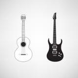 Två lägenhet stiliserade gitarrer: klassisk akustisk och modern elkraft stock illustrationer