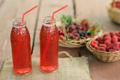 Två lät småkoka flaskor av förkylning bär frukt från blandade bär Royaltyfri Fotografi