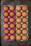 Två lådor av bruna ägg Royaltyfri Foto