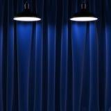 Två lampor och svartgardiner vektor illustrationer