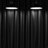 Två lampor och svartgardiner stock illustrationer