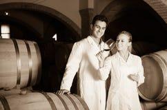 Två le vinhusarbetare som kontrollerar kvalitet av produkten Royaltyfri Foto