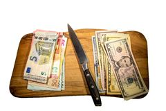 Två ledande hårdvalutor - för US dollar euro kontra Arkivfoton