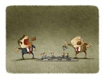 Två ledare som spelar schack med anställda stock illustrationer