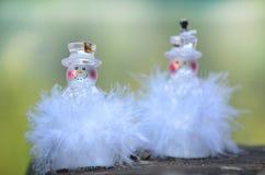 Två ledde snöflingor för julgarnering Arkivbild